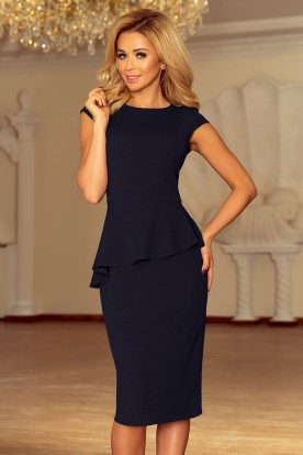 192-4 Elegant midi dress with frill - navy blue
