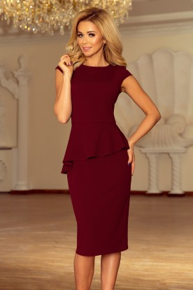 192-6 Elegant midi dress with frill - Burgundy color