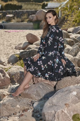 Unique dress with a spectacular finish L269 black with flowers
