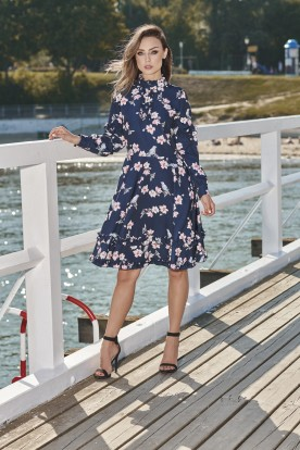 Unique dress with a spectacular finish L269 navy with flowers