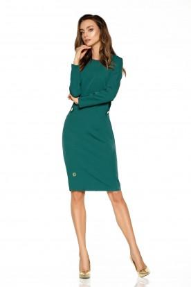 Elegant business dress L274 dark green