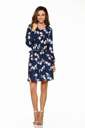 Girly dress with patterns L275 navy with flowers