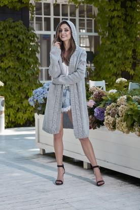 Fashionable cardigan with a hood LS213 light grey