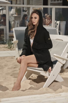 Fashionable cardigan with a hood LS213 black