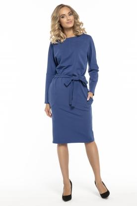 Mėlyna suknelė su dirželiu