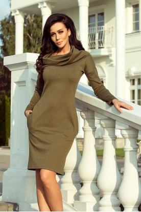 131-8 Dress with large turtleneck and pockets - khaki color