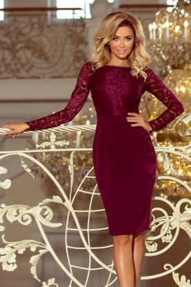 216-3 EMMA elegant pencil dress with lace - Burgundy color