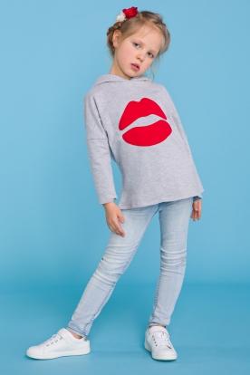 Pilkas džemperis mergaitei