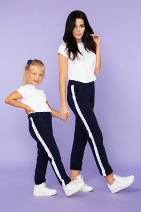 Mėlynos kelnės su balta juosta mergaitei