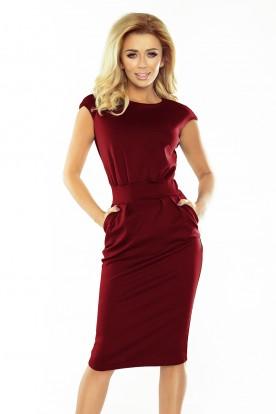 144-7 Dress midi SARA - Burgundy color