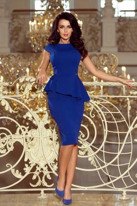 192-7 Elegant midi dress with frill - royal blue