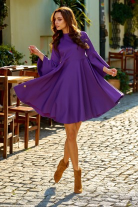 Phenomenal dress with flared sleeves L277 violet