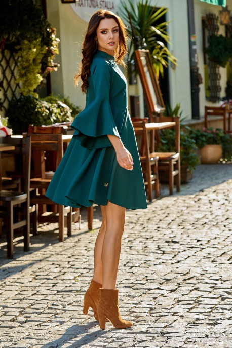 Phenomenal dress with flared sleeves L277 dark green