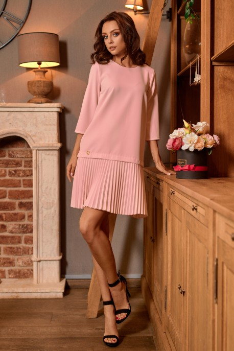 Simple mini dress with pleats L266 powder pink