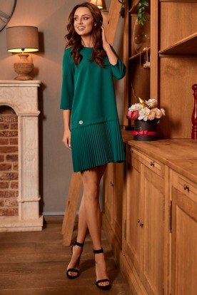 Simple mini dress with pleats L266 dark green