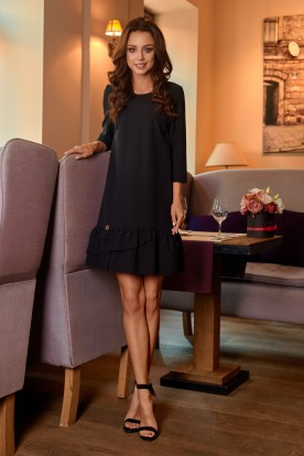 Classic dress with a frill L272 black