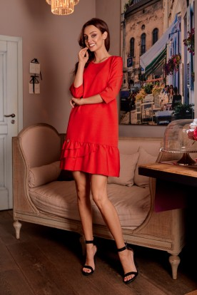 Classic dress with a frill L272 red