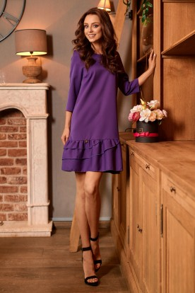 Classic dress with a frill L272 violet