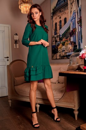 Classic dress with a frill L272 dark green