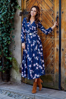 Fashionable midi dress L286 navy with flowers