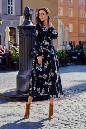 Fashionable midi dress L286 black with flowers