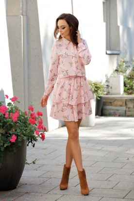 Classic shirt dress L281 powder pink with flowers
