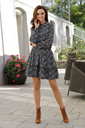 Classic shirt dress L281 dots