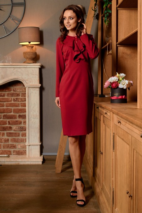 Business dress with a ruffle L270 crimson