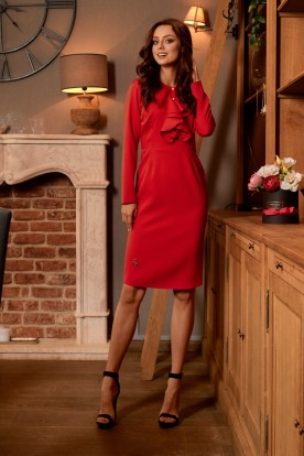 Business dress with a ruffle L270 red