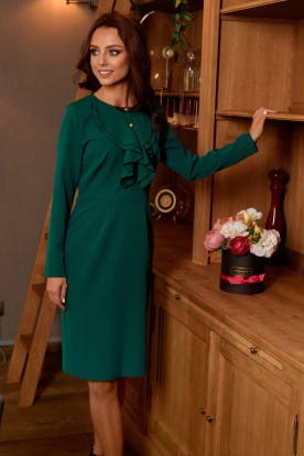 Business dress with a ruffle L270 dark green