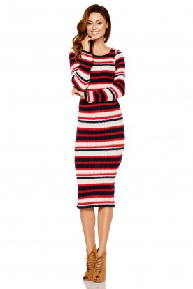 Feminine pencil sweater dress LS224 navy-red-beige