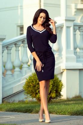 224-1 Sporty dress with a welt - dark blue