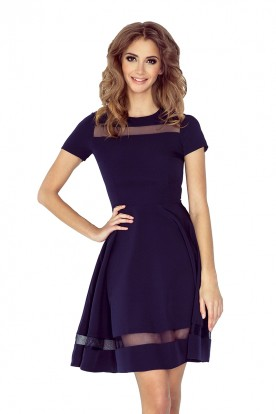 MM 003-2 Midi dress with tulle stripes - navy blue