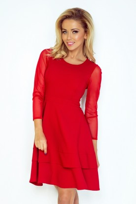 Dress with sleeves of tulle - red 141-2