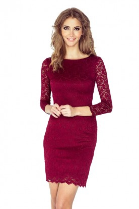 Dress with lace - navy red 145-2