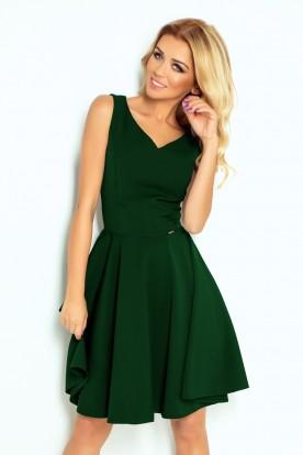 114-10 Flared dress - heart-shaped neckline - dark green