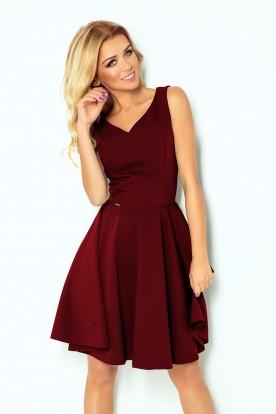 114-11 Flared dress - heart-shaped neckline - Burgundy color