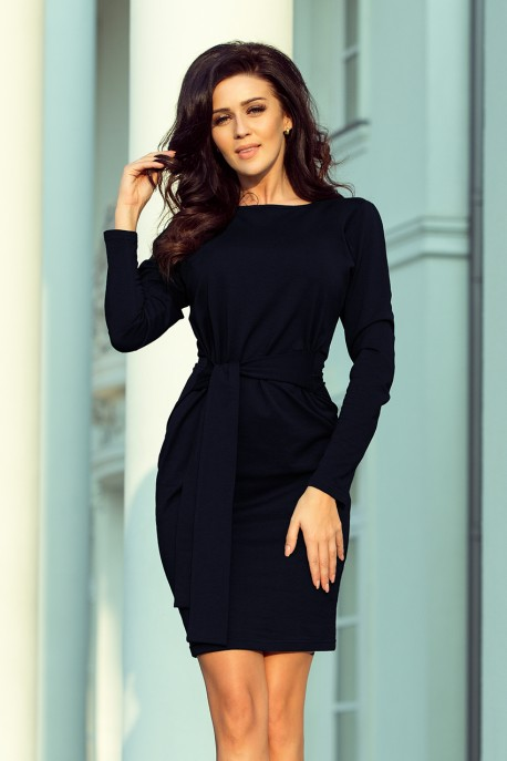 209-4 Dress with a wide tied belt - navy blue color