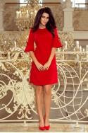Puošni raudona suknelė trumpomis rankovėmis
