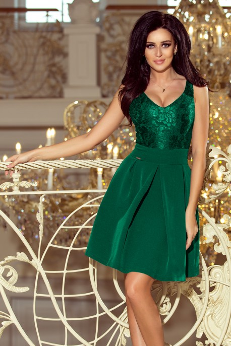 208-4 Dress with lace neckline and pleats - dark green