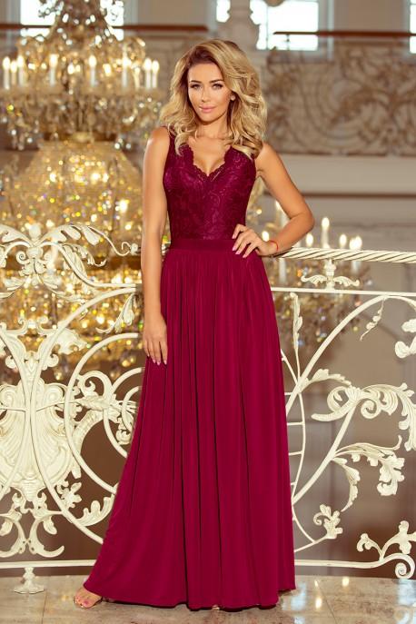 211-2 LEA long dress with lace neckline - Burgundy color