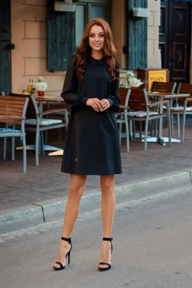 Elegant dress with chiffon sleeves L265 black