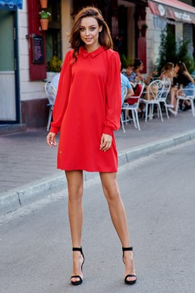 Elegant dress with chiffon sleeves L265 red
