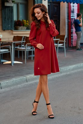 Elegant dress with chiffon sleeves L265 crimson