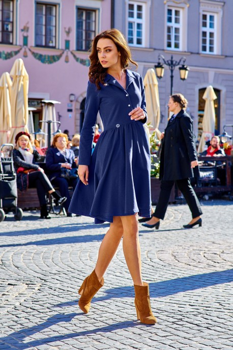 Circle V-neck dress L282 navy