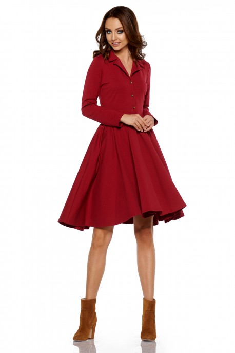 Circle V-neck dress L282 crimson