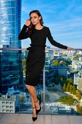 Business dress with a belt L289 black