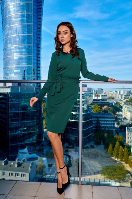 Business dress with a belt L289 dark green