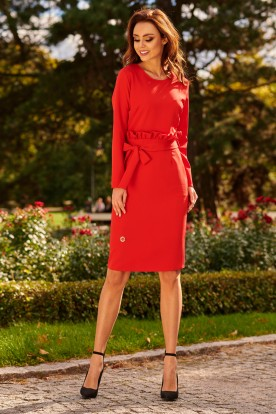 Business dress with a belt L289 red