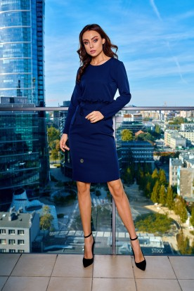 Business dress with a belt L289 navy